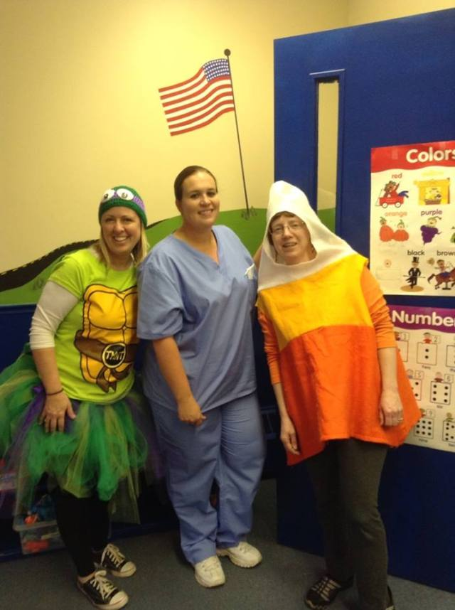 Mrs. Evans Teenage Mutant Ninja Turtle, Doctor Mrs. Williams and Mrs. Corron Candy Corn.